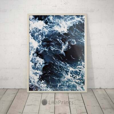 A2 Blue Abstract Waves Ocean Poster 59.4X42cm280gsm #2539
