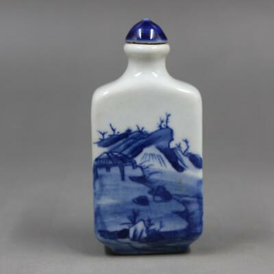 Chinese ancient antique hand make Blue and White Landscape Snuff Bottle a004