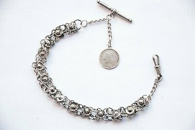 Antique Albertina Pocket Watch Chain With Victorian Silver Coin Fob