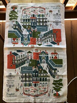 VTG Disney land New Orleans Square Towel Table Runner Souvenir