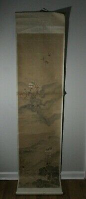 """Antique Chinese Hand Painted Man Admiring Three Women Scroll  80 1/2"""" # 6"""