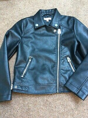 Girls Debenhams Bluezoo Faux Leather Jacket  Biker Age 8 Excellent Condition