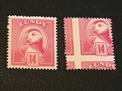 Major Error  Perferation Shift On Lundy 14  Stamp + Normal U/Mint  Very Nice