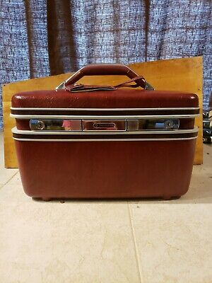 Vintage Red Samsonite, Makeup Case,  Train Case, Mirror, Brown Luggage/ no keys