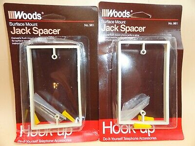 Phone Jack Wall Spacer Flush Telephone, Ivory (Lot of 2)