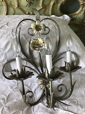 Vintage Italian Tole Wall Sconce Yellow Flowers, Chandelier Lights