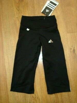 New Adidas Girls Gym Workout 3/4 Length Black Leggins Age 4 Yrs 108 Bnwt