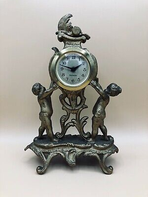 Antique West Germany Mercedes Mantel Dresser Clock Gilded Cherubs Works