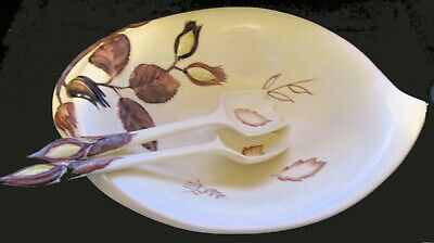 Autumn Leaves Carlton Ware Salad Bowl, Fork & Spoon Set, UK Hand Painted