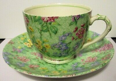 Vintage Lilac Time Chintz English Cup and Saucer, Empire