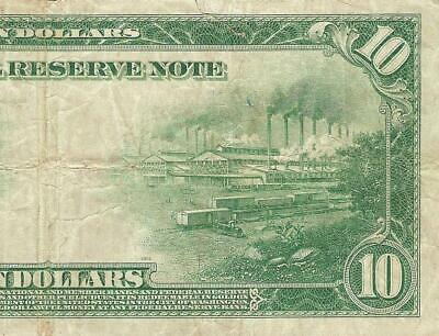 Large 1914 $10 Dollar Bill Federal Reserve Note Big Currency Old Paper Money