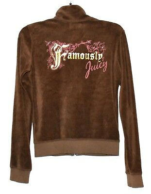 Juicy Couture Famously Juicy Brown Velour & Rhinestone Zipper Jacket Size M USA