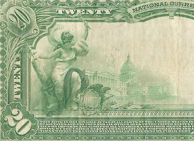 Large 1902 $20 Washington Park Chicago Illinois National Bank Note Currency Vf