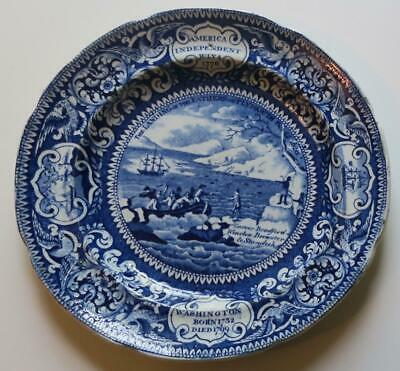 c. 1830 Historical Staffordshire Blue Landing of Fathers Plymouth Plate En. Wood