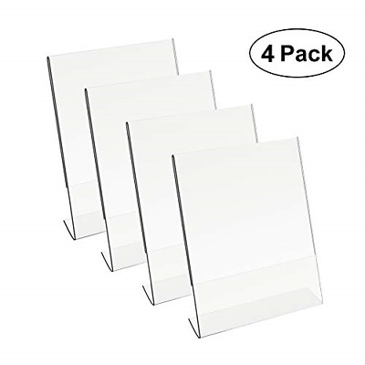 8.5 X 11 Acrylic Sign Holder Slant Back Design Clear Table Single Sheet Portrait