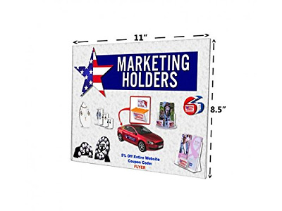 "Marketing Holders 11"" x 8.5"" Wall Mount Sign Holder Frame NO Holes Horizontal of"