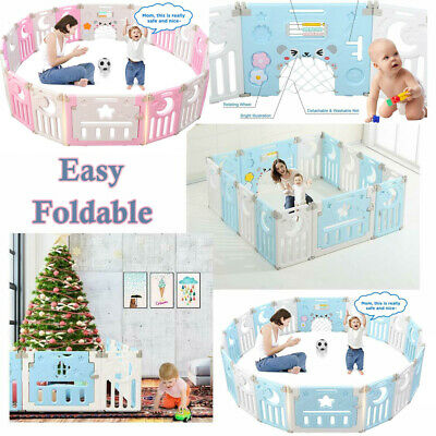 10/12/14 Panel Baby Playpen Foldable Kids Fence Safety Plastic Child Indoor Toys