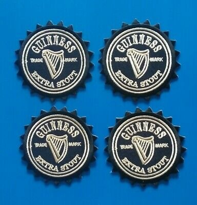 4 LOT GUINNESS EXTRA STOUT  Easy Sew/Iron ON BEER Patches W/FREE SHIP