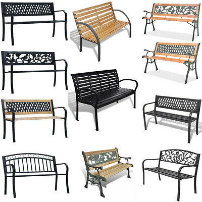 Garden Bench 80-125 cm Wooden Metal Patio Seat Outdoor Chairs Seating Furniture