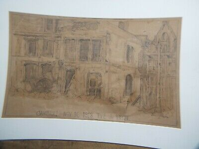 Ww1  Pencil Drawing  1918 Cambria By Newton 6Th Engr. To Named Officer No Frame