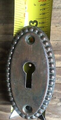 """Antique Large Beaded Edge Door Key Hole Escutcheon plate cover Oval salvage 3"""""""