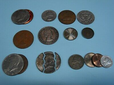 Collection Of Magician Trick Magic Coins Hollowed Out Double Sided Folding