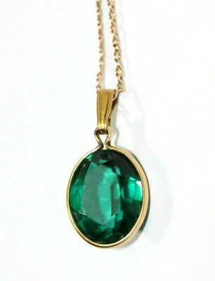 """Vintage 14K YELLOW GOLD, Syn. Emerald 17"""" Necklace/Pendant: 1.9 Grams"""
