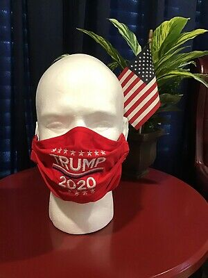 TRUMP Face Mask Embroidered Washable 100% cotton Hand Made Reversible Red 2020