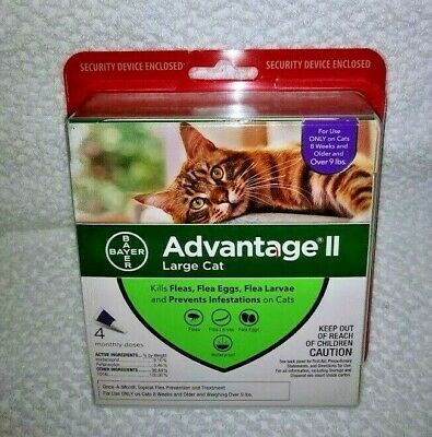 BrandNew Sealed Bayer Advantage II Flea & Lice Control Large Cats 9lbs 4 Doses
