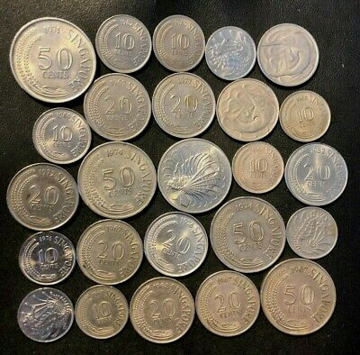 Old Singapore Coin Lot - 1967-1981 - 25 Older Type Coins - Lot #J1