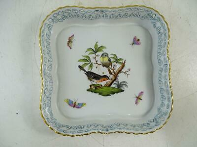"Vintage Porcelain Lattice Dish Bowl Herend Hungary Bird Butterfly Moth 7"" Square"