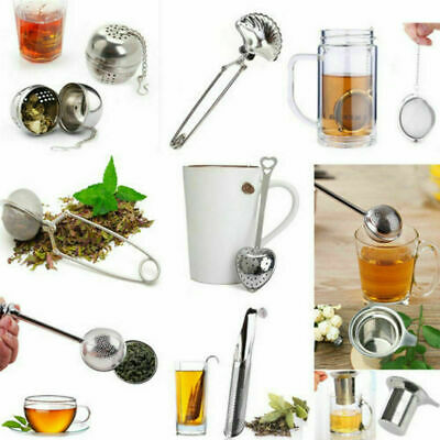 Stainless Steel Spoon Leaves Herb Mesh Ball Infuser Strainer Squeeze X1A8