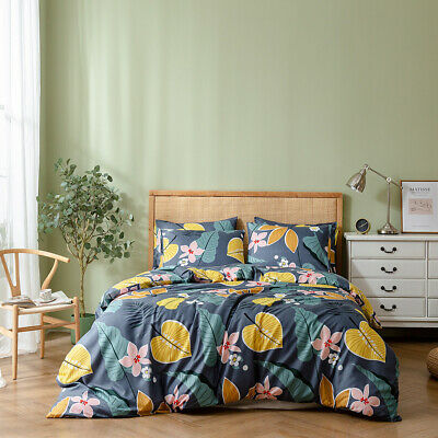 Reversible Floral Duvet Quilt Cover Bedding Set Pillowcase Twin Queen King Size