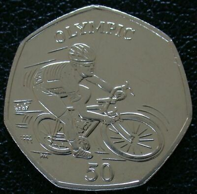 2012 Isle of Man 50P Fifty Pence OLYMPIC MARK CAVENDISH BUNC  Low Mintage RARE