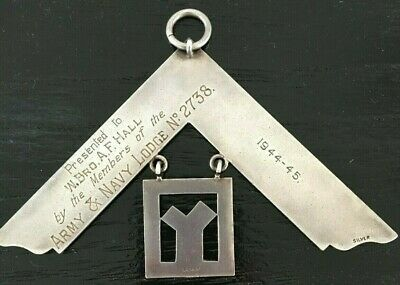 Masonic solid silver set square jewel