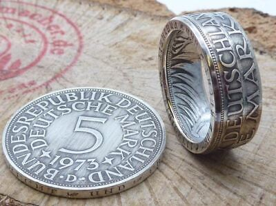 1956-1974 Authentic German Ring made from 5 german Mark Silver Eagle Coin