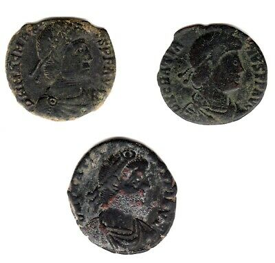 Monnaies Antiques Romaines Lot de 3 GRATIEN Nummus / Follis