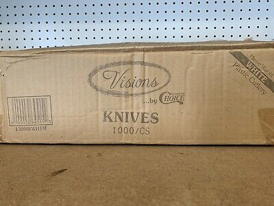 Visions heavy weight plastic Knives, White, Case of 1,000