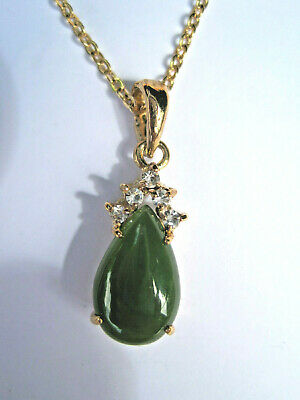 Vintage Carved Green Nephrite Jade  Signed Pendant Canada New Old Stock