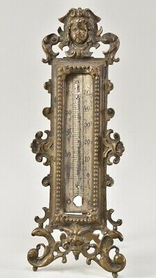i96d30- Antikes Historismus Bronze Stand Thermometer 19.Jhd