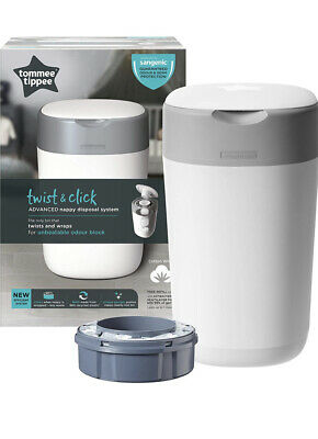 Tommee Tippee Twist And Click Advanced Nappy Disposal Bin Blue