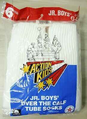 Vintage Action Kids JR. Boy's Over the Calf Tube Socks Fits 6-8 1/2  Made in USA