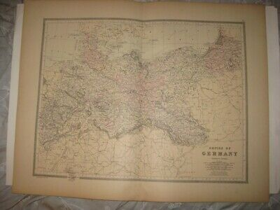 Set Of 2 Huge Gorgeous Antique 1887 Empire Of Germany Prussia Handcolored Map Nr