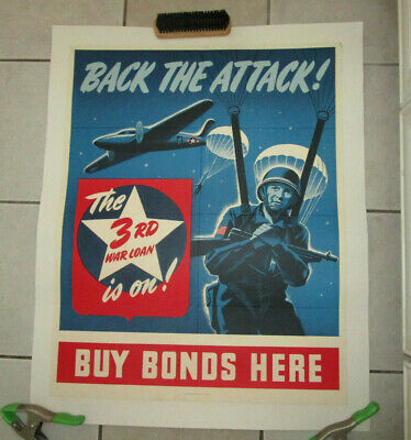 """Original Wwii 3Rd War Loan, """"Back The Attack"""" 1943 Poster"""