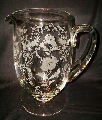Vintage Fostoria Glass Shirley 331 Etching 6011 Handled Footed Jug Water Pitcher