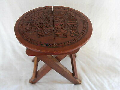 Mexican Hand Tooled Leather Stool End Table Folding Wooden Wood Folk Art Aztec