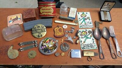Junk drawer misc lot advertising items 64' political button cigarette lighters