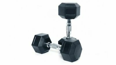 2 x (1 pair) Rubber Encased Dumbbell Hex Weights (Various Sizes)