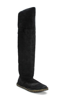 Stella McCartney Womens Over The Knee Flat Boots Suede Pull On Black Size 38 8