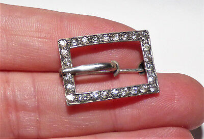 Antique  Art Deco Silver Old Paste Buckle Brooch Petite Chic Buckle Pin Pretty